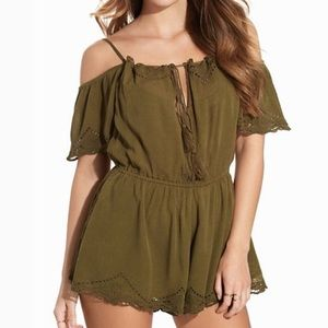 FREE PEOPLE army green romper XS NEW!!